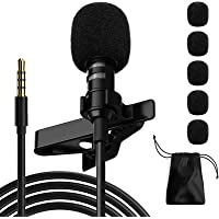 Professional Lavalier Microphone,Phone Microphone, Noise Reduction Mic, Suitable for Interview, Video, Recording, Black.