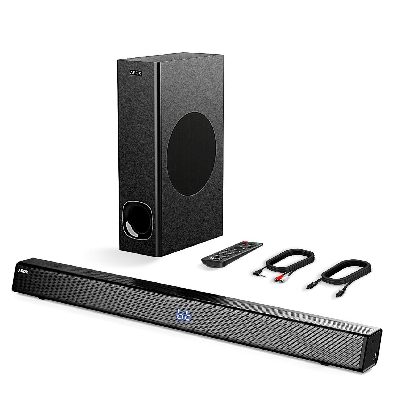 GooBang Doo テレビ34インチ120W 2.1チャンネルスピーカー ワイヤレス&有線 ブルートゥース対応 4.2サウンドバー ホームシアターサラウンドサウンド タッチおよびリモートコントロール 壁掛け用サブウーファー ABOx型サウンドバーとサウンドバー ブラック   B07D5WSCQP