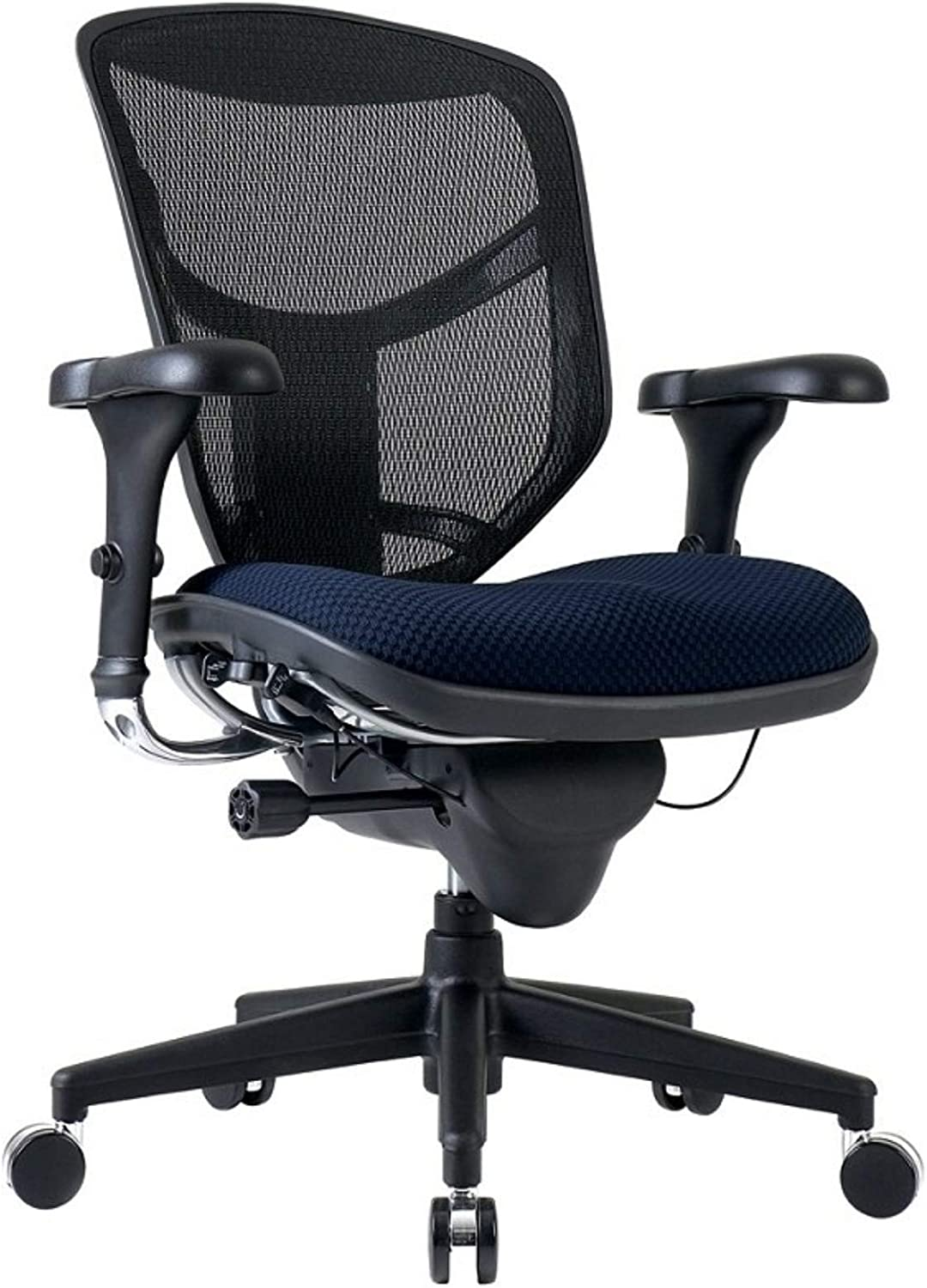 WorkPro Quantum 9000 Ergonomic Mesh/Fabric Mid-Back Manager's Chair, Navy/Black