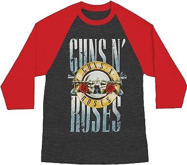 Guns N' Roses Stack Logo Char Heather/Red Raglan T-Shirt