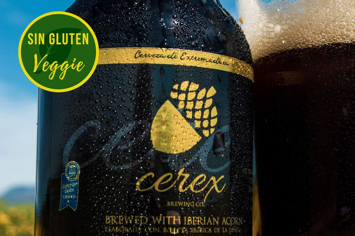 CEREX - Pack de 4 Cervezas Artesanas Sin Gluten Sabor Ibérica de Bellota - Cervezas de 33cl. - Mejor Cerveza Artesanal de España Premios
