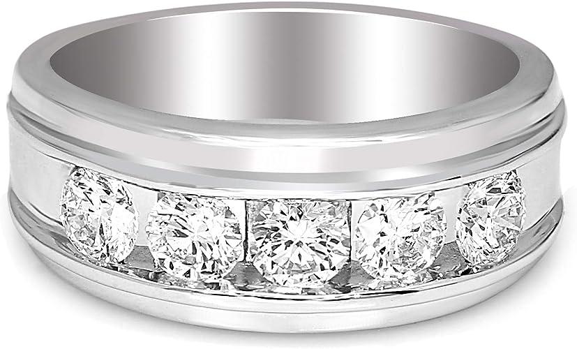 White gold finish 5 Stone twisted created diamond ring free postage gift box