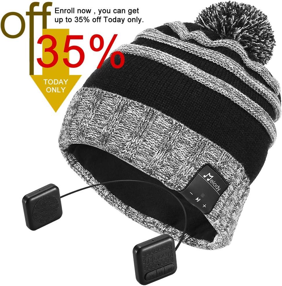 Bluetooth Beanie Hat,Topple Wireless CSR Superior Headphone Beanie Hat HD Stereo Earphone Speaker &Mic,Unisex Washable Men Women Winter Outdoor Fitness (TB205BP-Grey)