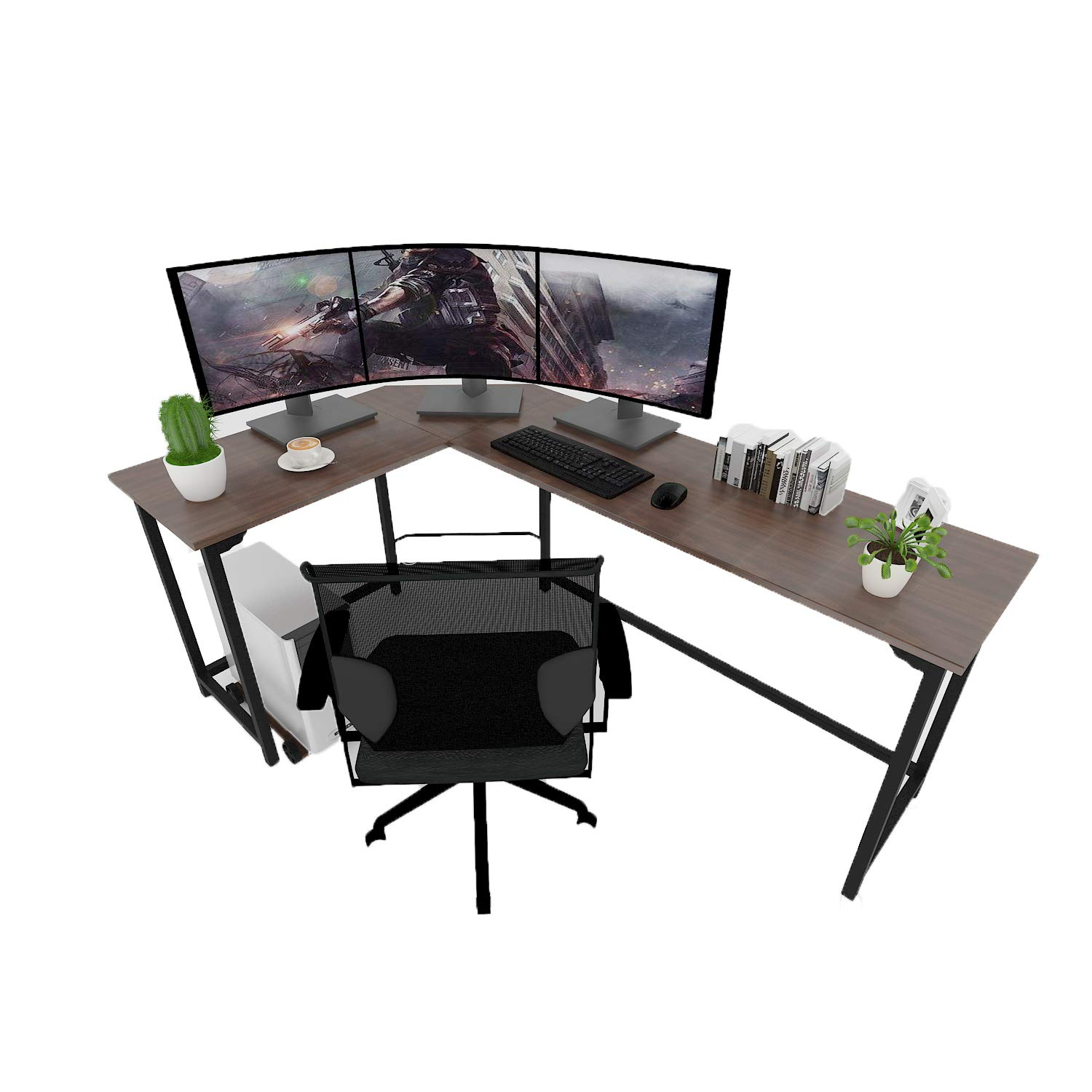 SZXKT L-Shaped Corner Desk for Gaming and Studying 3-Piece Interchangeable Wood & Metal Home Office Computer PC Table Workstation (Walnut) by SZXKT