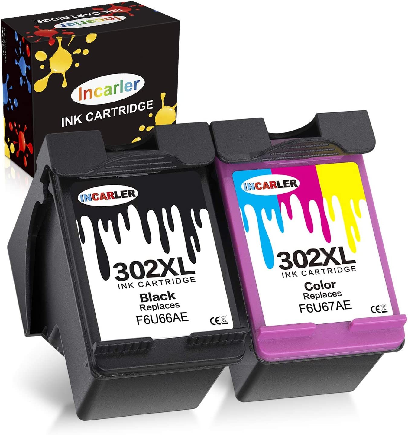 Incarler 302XL Remanufacturado Cartuchos de Tinta Compatible con Tinta HP 302 para HP Deskjet 3630 2130 1110 3636 Officejet 5230 3830 4650 5232 5220 5255 Envy 4520 4524 4527 (1 Negro 1 Tri-Color)