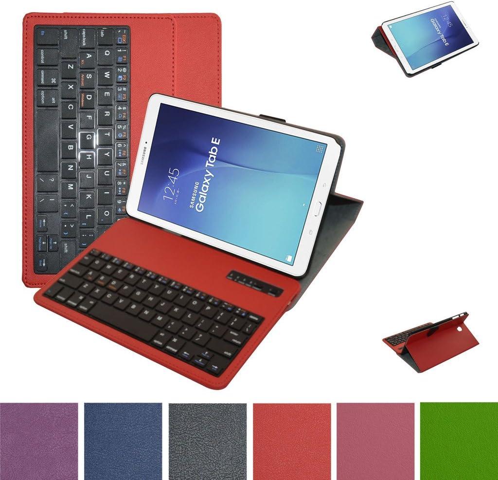 Samsung Galaxy Tab E 9.6 Bluetooth teclado Funda,Mama Mouth DETACHABLE Bluetooth teclado teclado (teclado QWERTY formato inglés) PU Cuero Con Soporte Funda Caso Case para 9.6