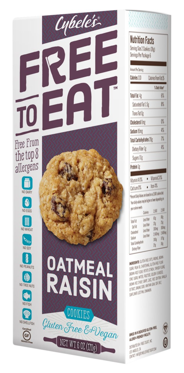 Cybele's Free to Eat Cookies, Oatmeal Raisin, 6 Ounce (Pack of 6) by FREE TO EAT