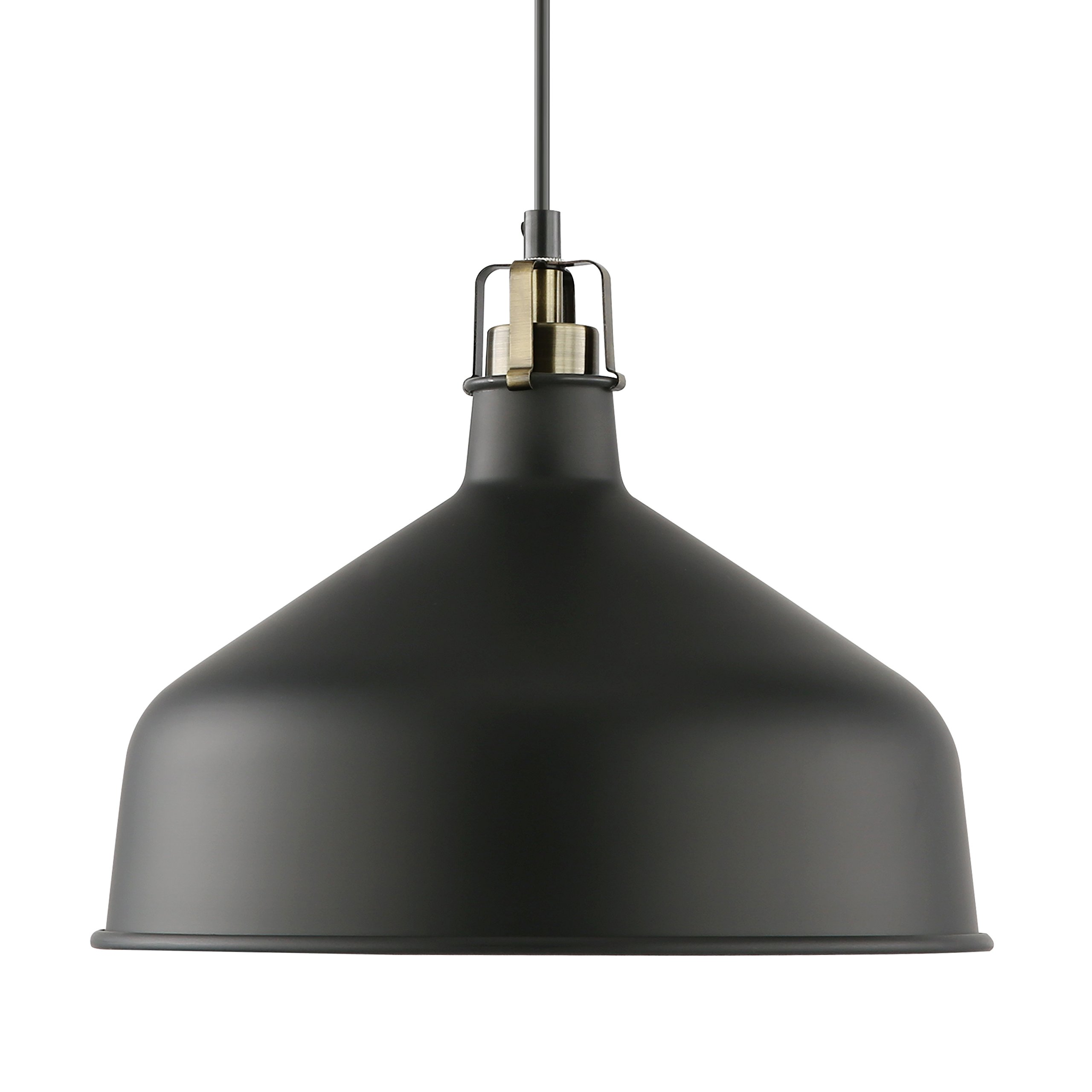 Light Society Banbury Pendant Light, Matte Black Shade with Brushed Brass Finish, Modern Industrial Farmhouse Lighting Fixture (LS-C167-BLK)