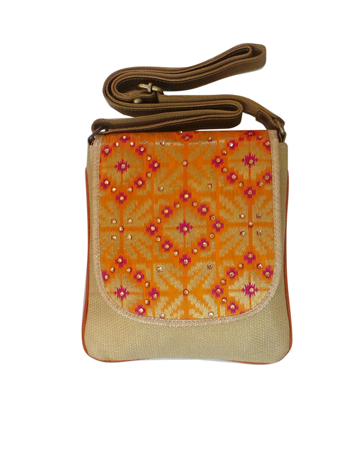 Bhamini Orange Ethnic Patola Sling Bag