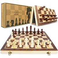 Chaukoko™ Wooden Chess Set CKW-002 - Magnetic Solid Wood Folding Chess Board Game Set with Crafted Pieces - 2 Extra…