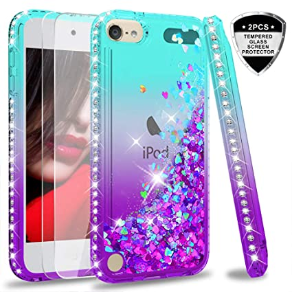 iPod Touch 7 Case, iPod Touch 6 Case, iPod Touch 5 Case with Tempered Glass Screen Protector [2 Pack] for Girls, LeYi Glitter Liquid Clear Phone Case ...