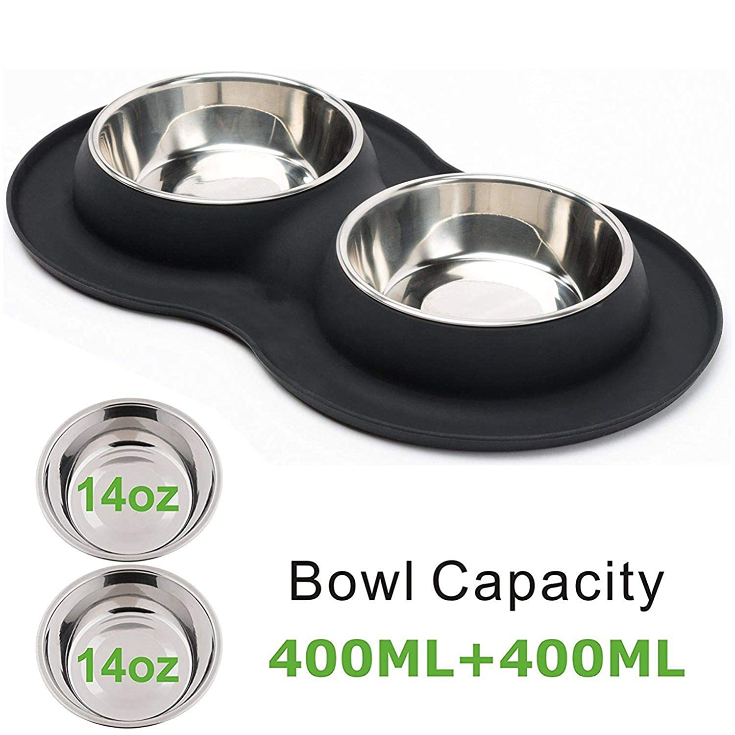 BLACK Small BLACK Small Roysili Double Dog Bowl Pet Feeding Station, Stainless Steel Water and Food Bowls with Non Skid Non Spill Silicone Mat, Premium Quality Dog Bowl Holder for Small Medium Dogs Cats Puppy (Small, Black)