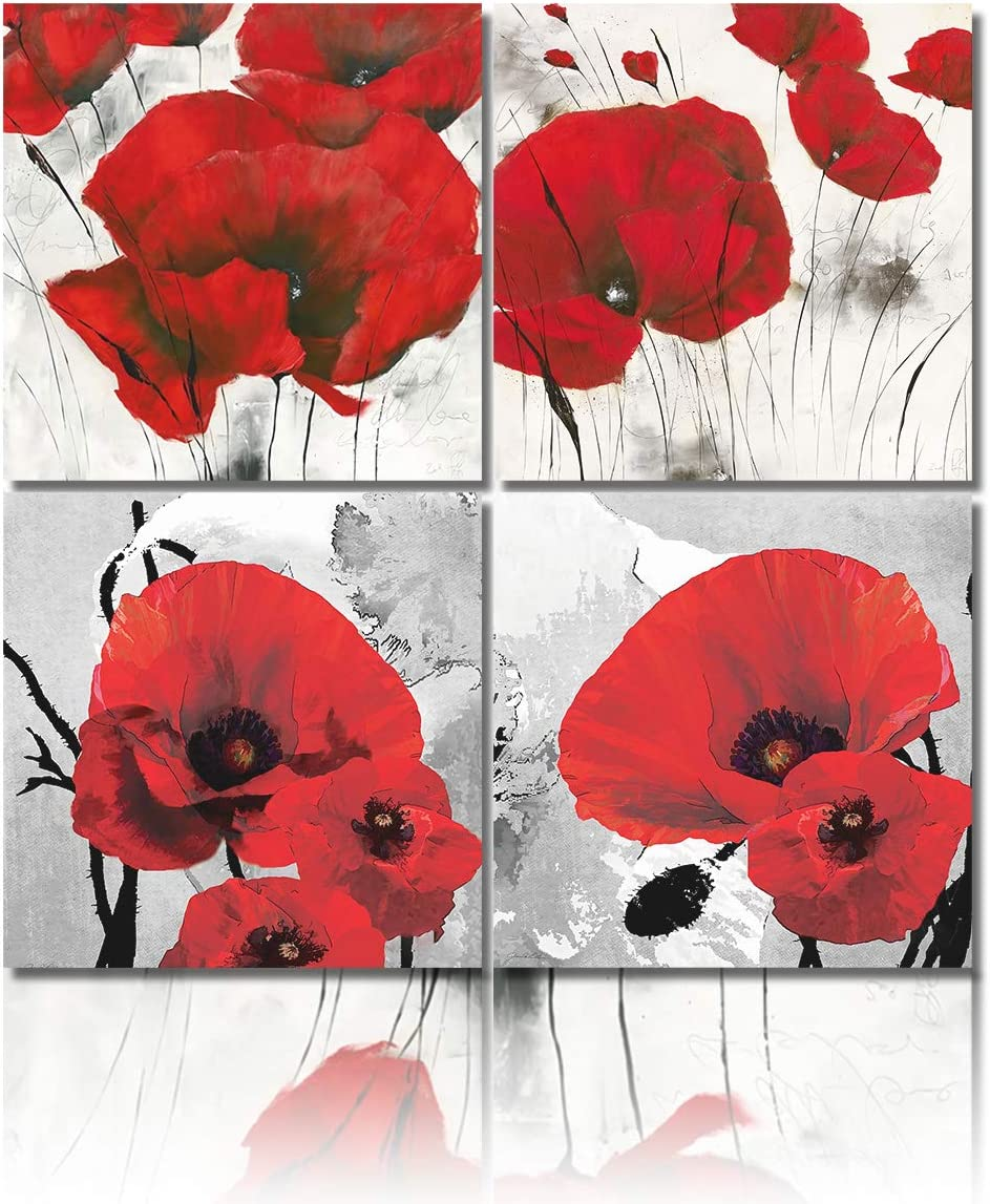 Red Wall Art Elegant Poppy Red Flower Wall Art Plant Abstract Art Poppy Canvas Wall Art Painting Picture for Living Room Wall Decor Wood Frame Stretched Easy to Hang 4 Panel,12x12inx4