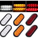 CCIYU 6 Pack Oval Rubber Mount Sealed LED Light Bulb Clearance Light Marker 10 LED Stop Turn Tail Light w/grommet Trailer Truck RV