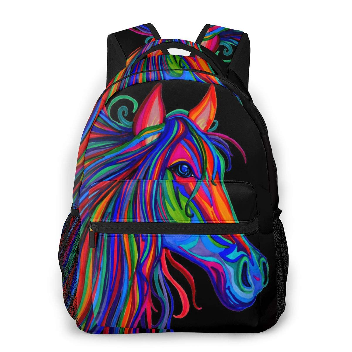 Fashion Daypack Large Capacity Anti-Theft Multipurpose Carry-On Bag Backpack for Sports Picnic Bicycle – Rainbow Wild Horse Head, Camping Outdoor Backpack