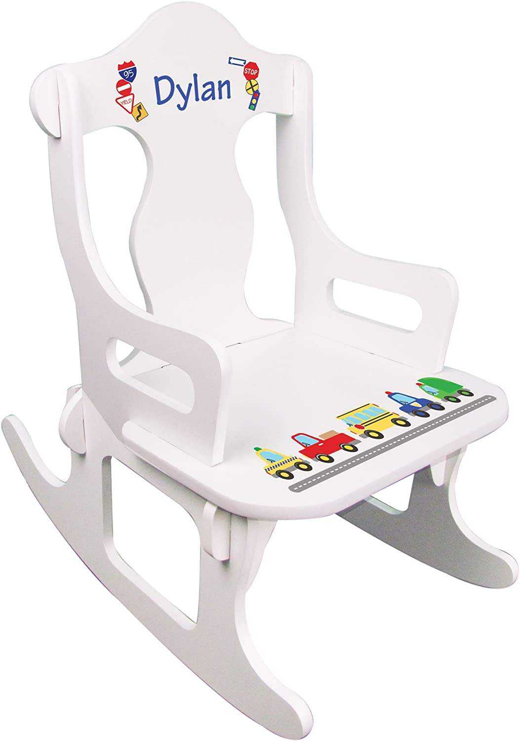 Personalized Childs Cars /& Trucks Puzzle Rocking Chair