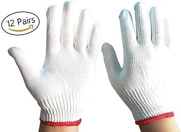 Guantes de trabajo grandes de algodón y poliéster de color blanco ...