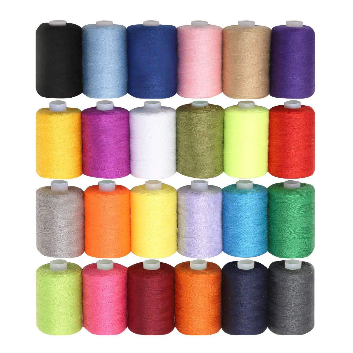 Set da 24 Pezzi 914 Metri Filato Poliestere Ricamo - Colori Luminosi Assortiti per Ricamo e Cucito- Filati Multi Colore di Alta Qualità - Grande Set Curtzy CH-447