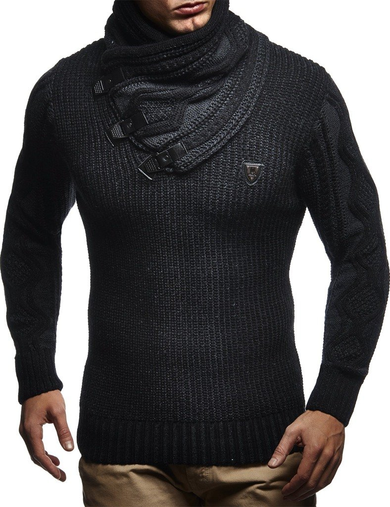 Leif Nelson LN5195 Men's Pullover With Faux Leather Accents,US-M / EU-L,Black Anthracite