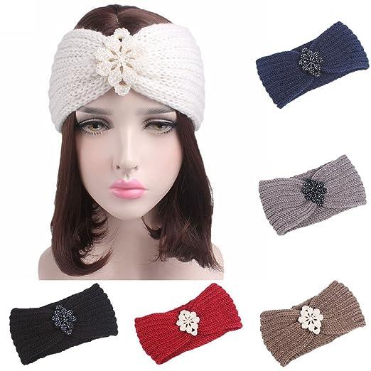 Amazon.com : Women Knitting Headband Handmade Keep Warm Hairband Turban Sunmoot : Beauty