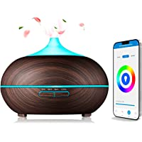 Diffuser voor etherische oliën, 300 ml, ultrasone luchtbevochtiger Alexa en Google Home, Si Smart Life, donker hout…