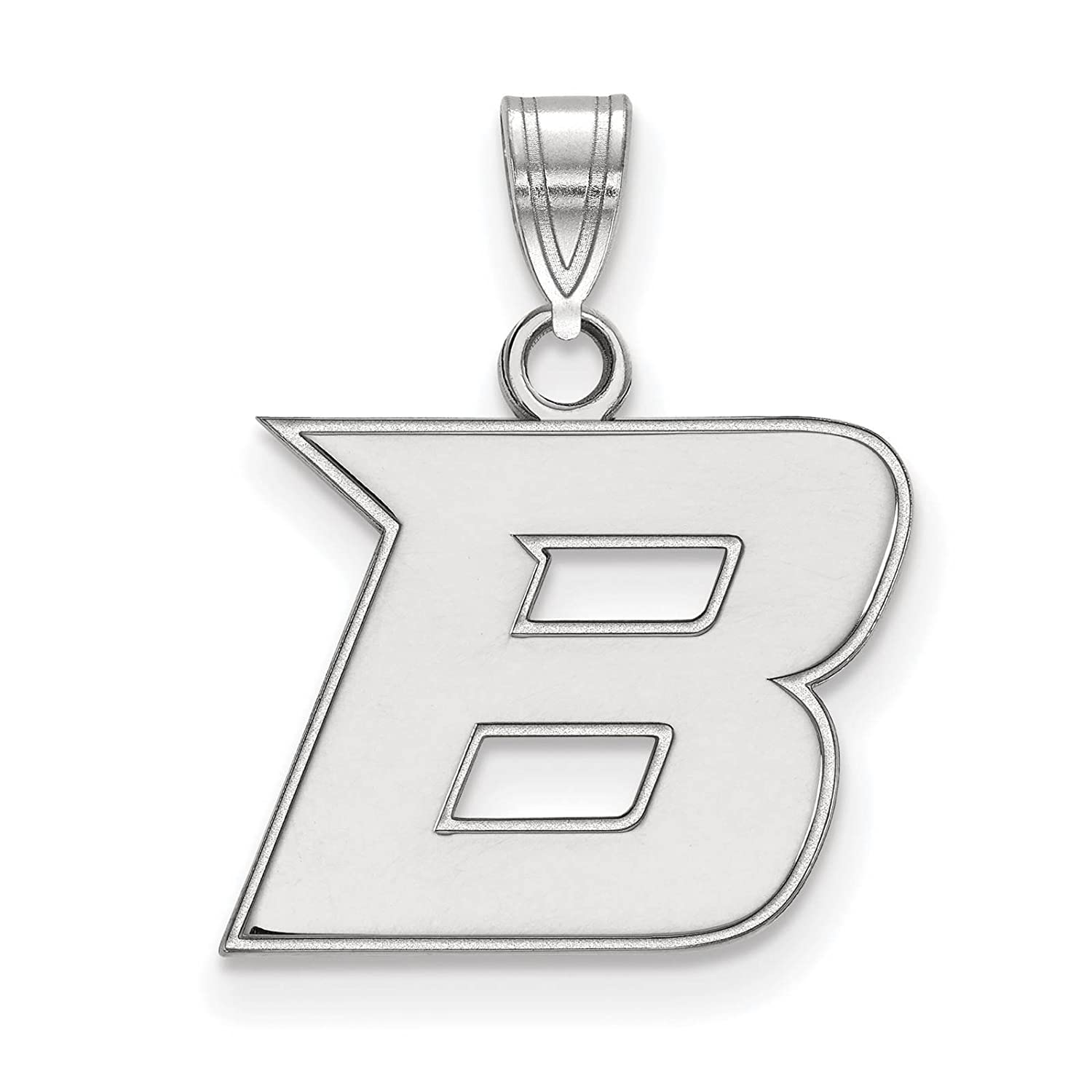 925 Sterling Silver Rhodium-plated Laser-cut Boise State University Small Pendant