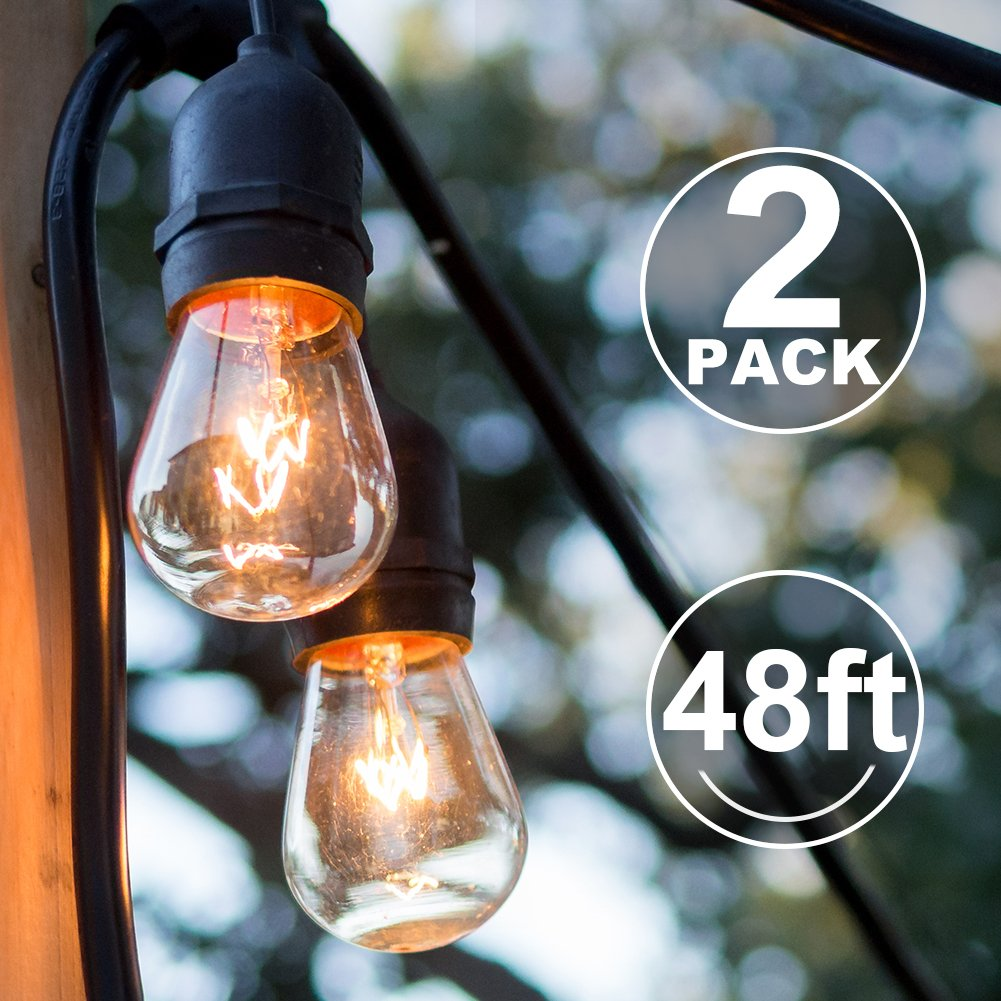 2 Pack Outdoor String Lights with 16 Dimmable Edison Vintage Bulbs, UL Listed Heavy-Duty Decorative Café Patio Lights for Bistro Garden