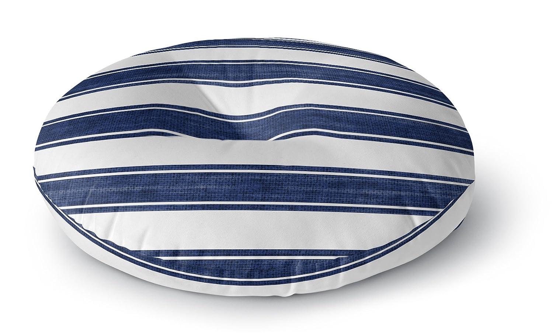KAVKA DESIGNS Indoor/Outdoor Nautical Stripe Square Floor Pillow, Blue, White - 26' X 26'