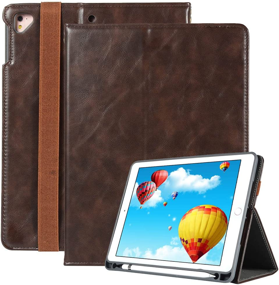 iPad 9.7 2018 Case with Apple Pencil Holder [Free Stylus Pen], Premium Leather with Hand Strap Folio Stand Cover Auto Wake/Sleep for Apple iPad 9.7 2018/2017/ Air 2/ Air/Pro 9.7 2016, Brown