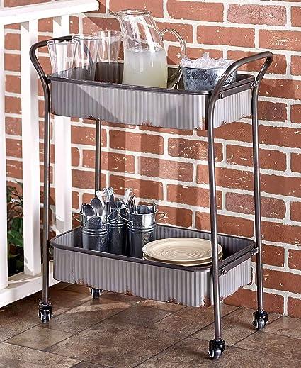 Amazon Com Corrugated Metal Rolling Cart Kitchen Islands