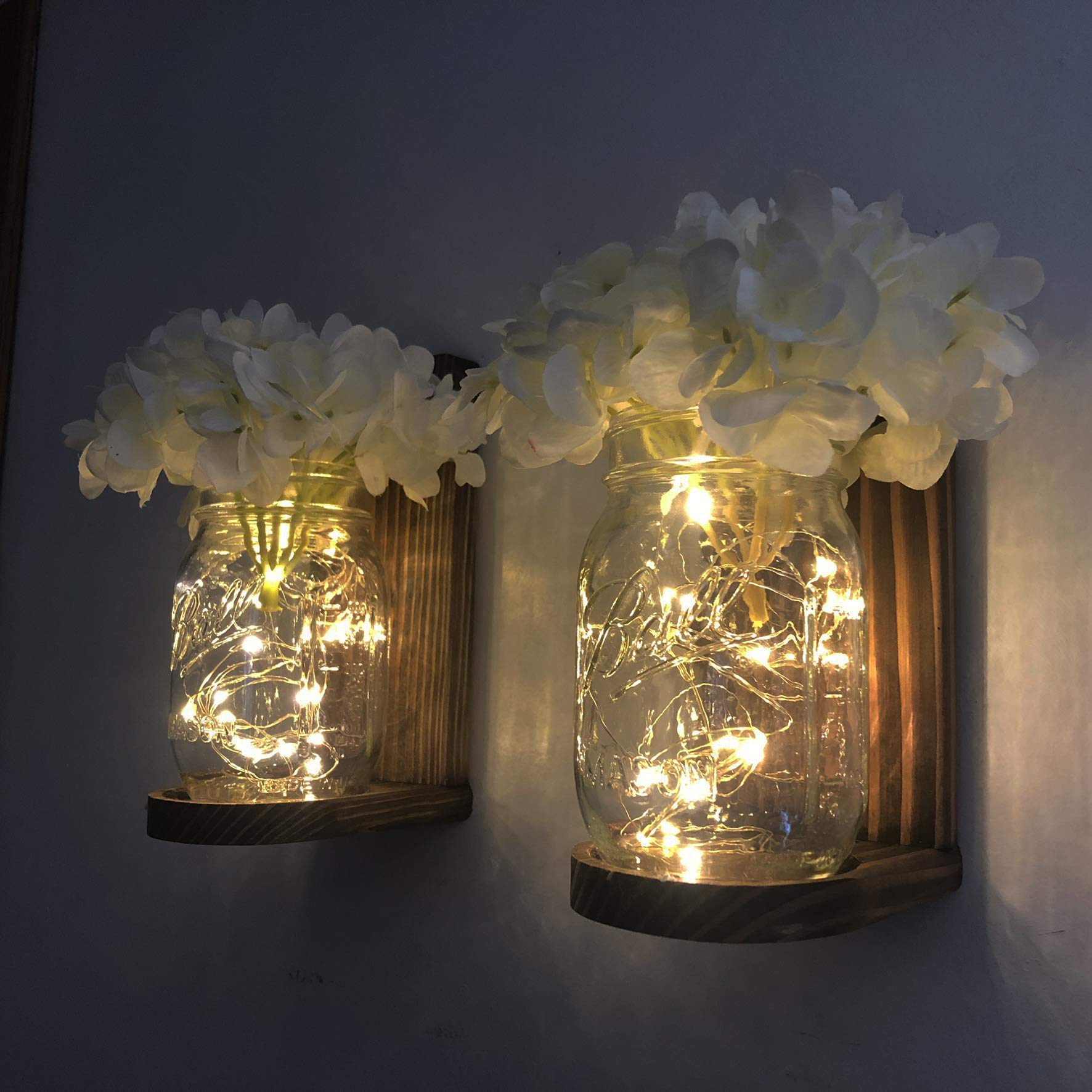 Handmade Hanging Lighted Mason Jar Wall Sconce with LED Fairy Lights and White Hydrangeas