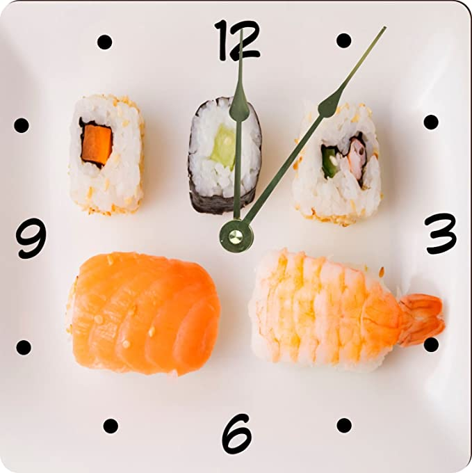 Sushi and Plate Square Clock