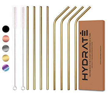 Reusable Eco Friendly 8 Pack, Black BPA Free Metal Straw Many Colour Options HYDRATE Stainless Steel Straws