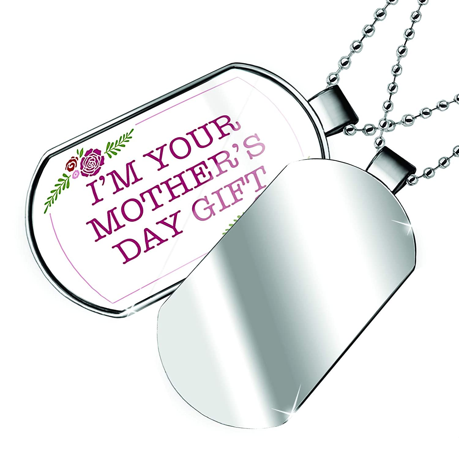 NEONBLOND Personalized Name Engraved Im Your Mothers Day Red Roses Dogtag Necklace