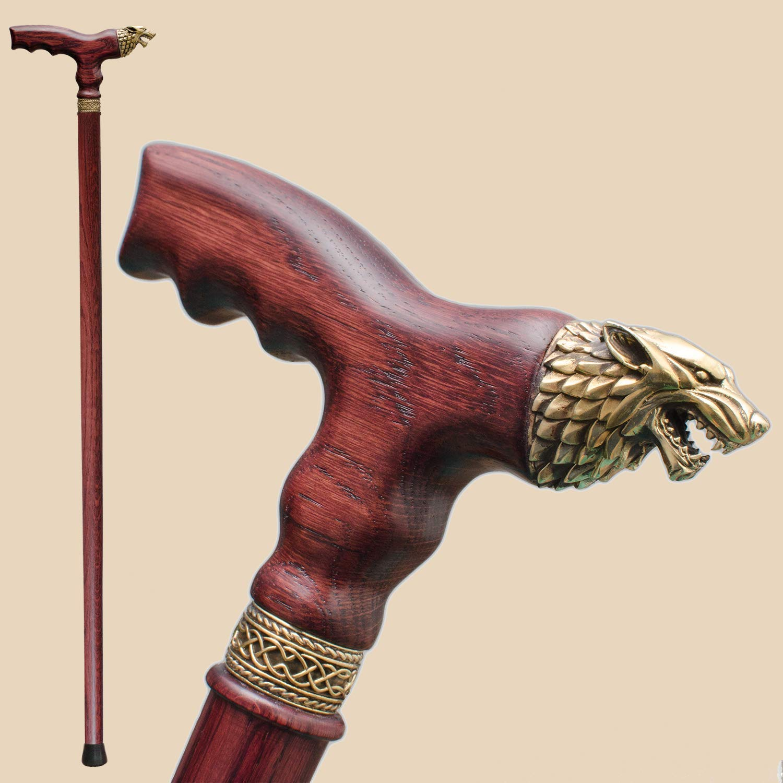 Fashionable Walking Stick Cane for Men Stylish Direwolf Wooden Walking Cane