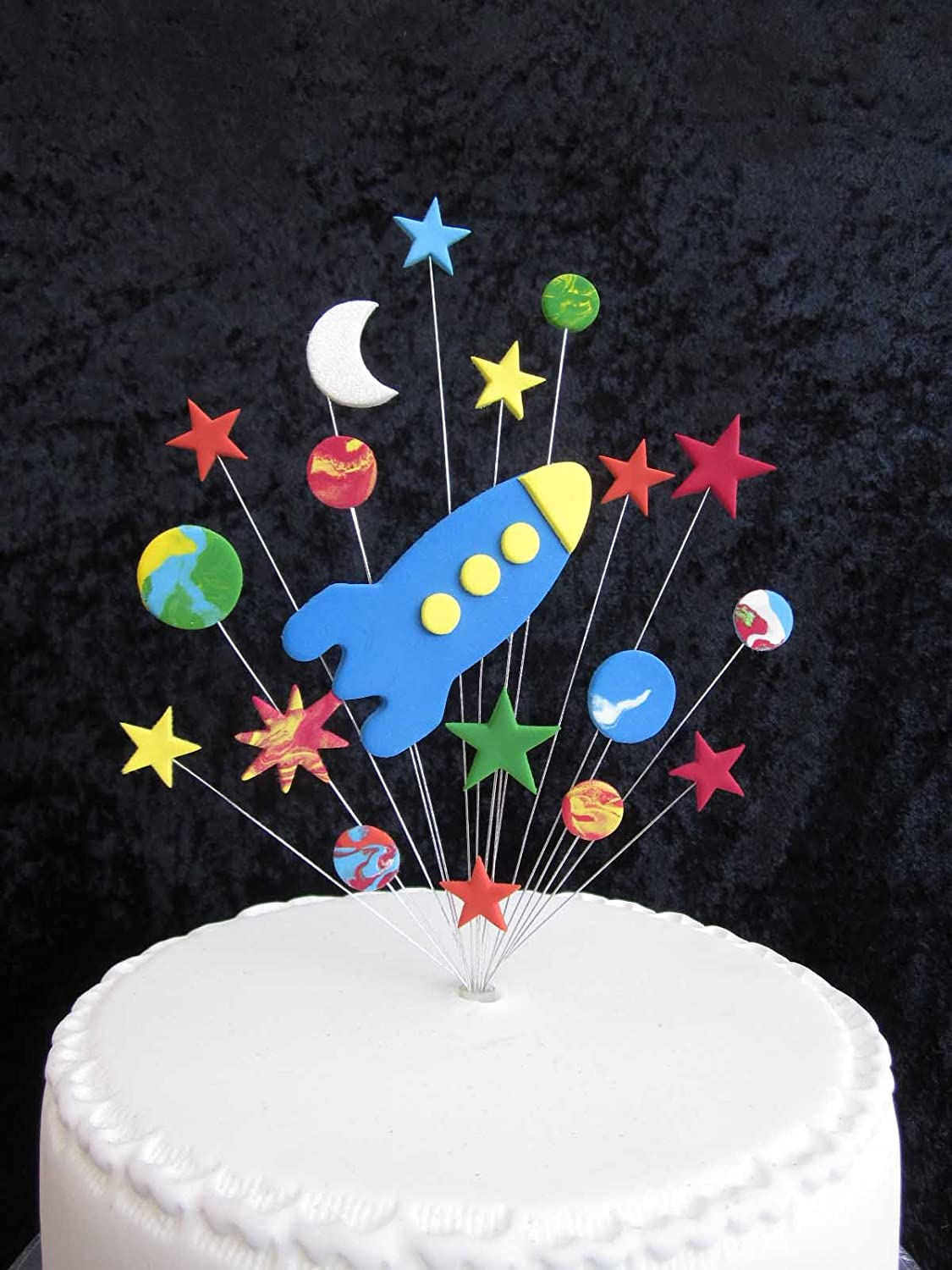 Strange Rocket With Stars Planets And Moon Birthday Cake Topper Ideal For Funny Birthday Cards Online Aboleapandamsfinfo
