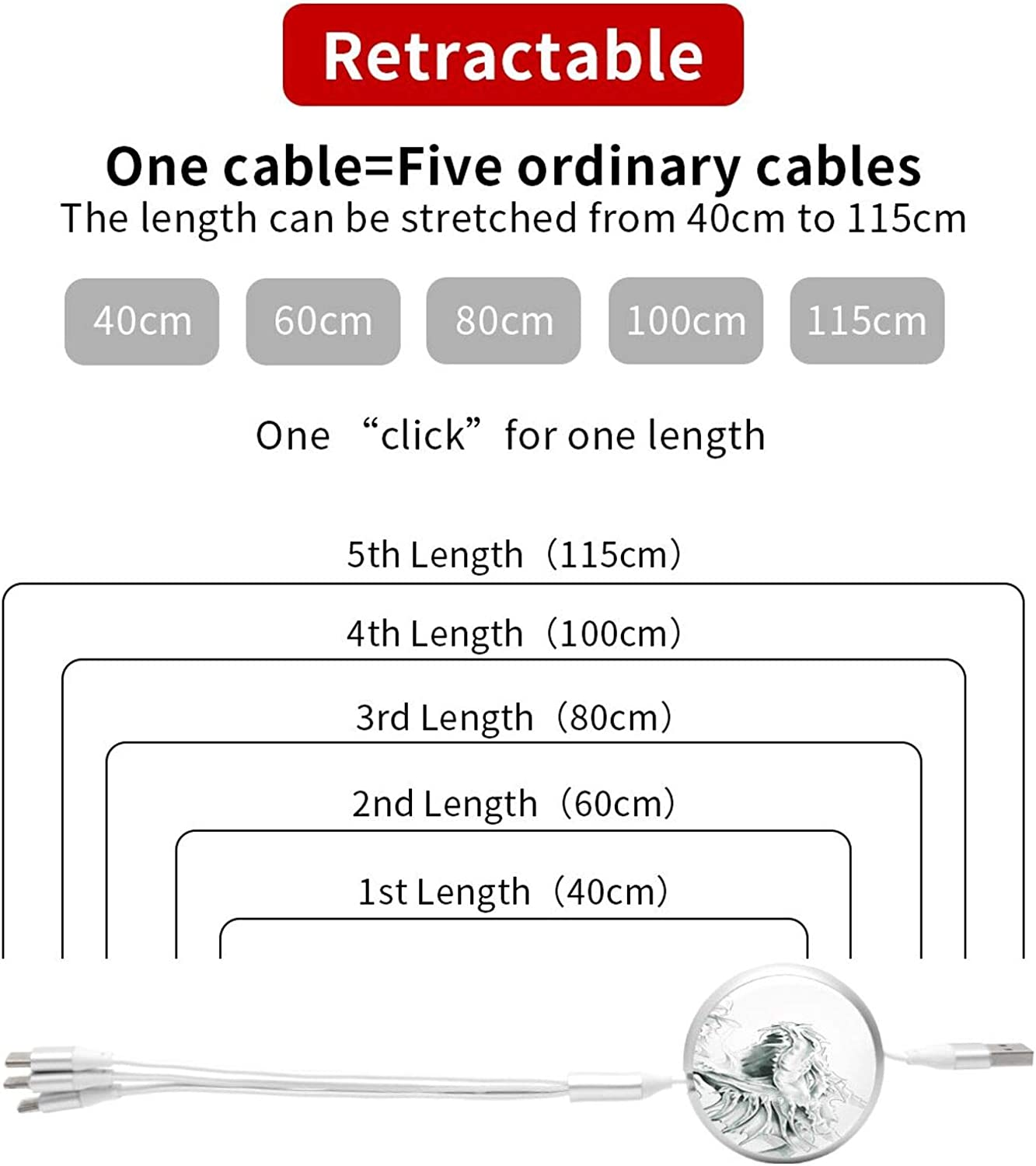 Multi Charging Cable Portable 3 in 1 Sketch of A Medieval Ancient Character Mythological Creature Abstract Design USB Cable USB Power Cords for Cell Phone Tablets and More Devices Charging