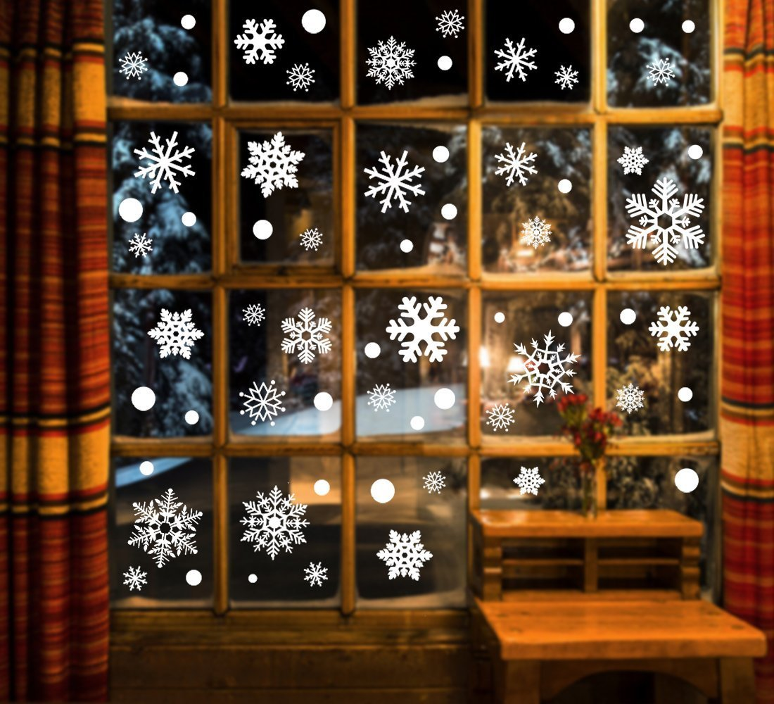 White Snowflakes Window Decorations Clings Decal Stickers Ornaments for Christmas Frozen Theme Party New Year Supplies-3 Sheets, 81 pcs Garma