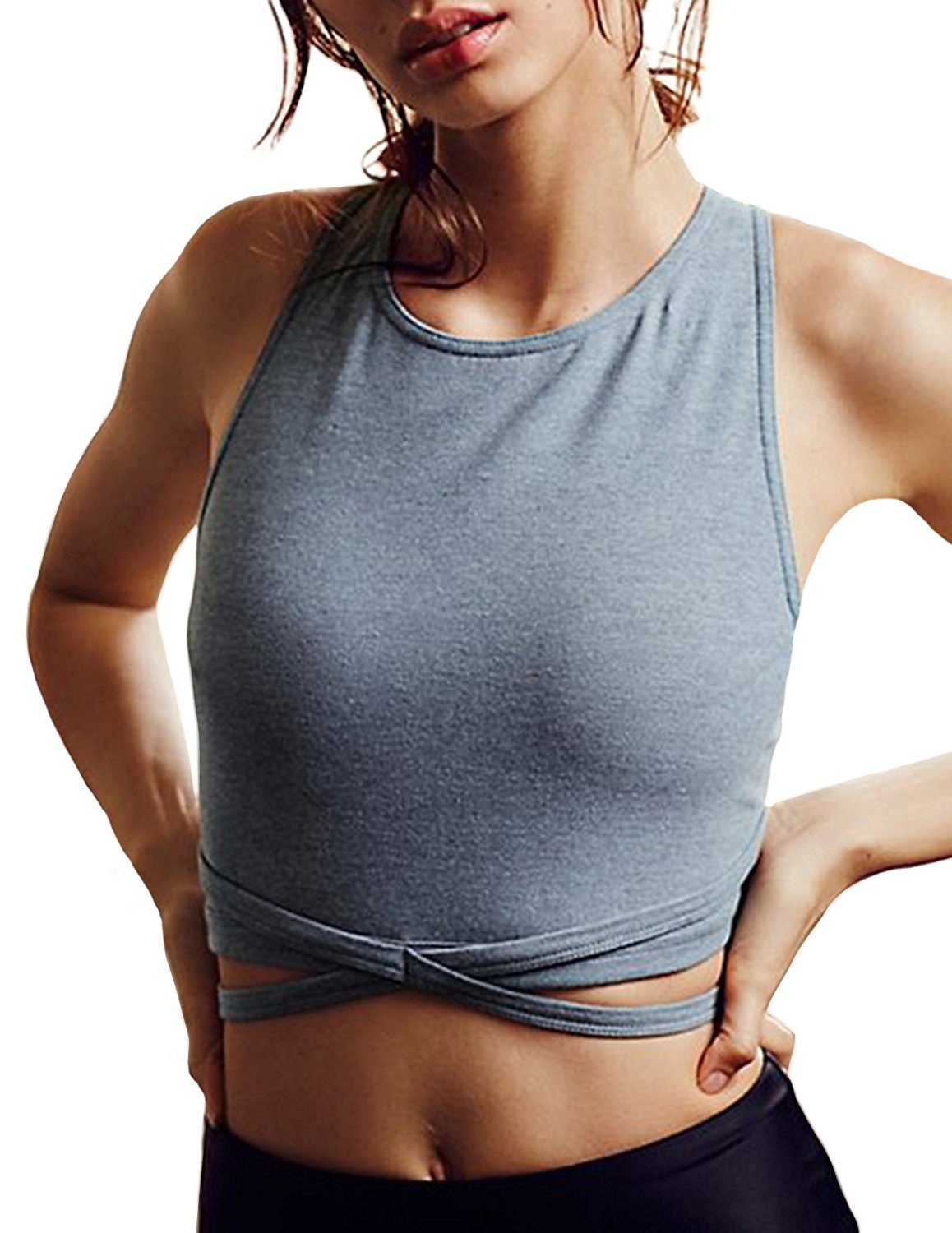 Haoduoyi Womens Light Support Cross Back Wirefree Removable Cups Yoga Sport Bra(M,Grey)