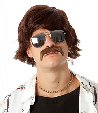 70s Shag Wig and Mustache Set Short Brown Wigs Mens 60s Hippie Costumes Fits Adults & Kids