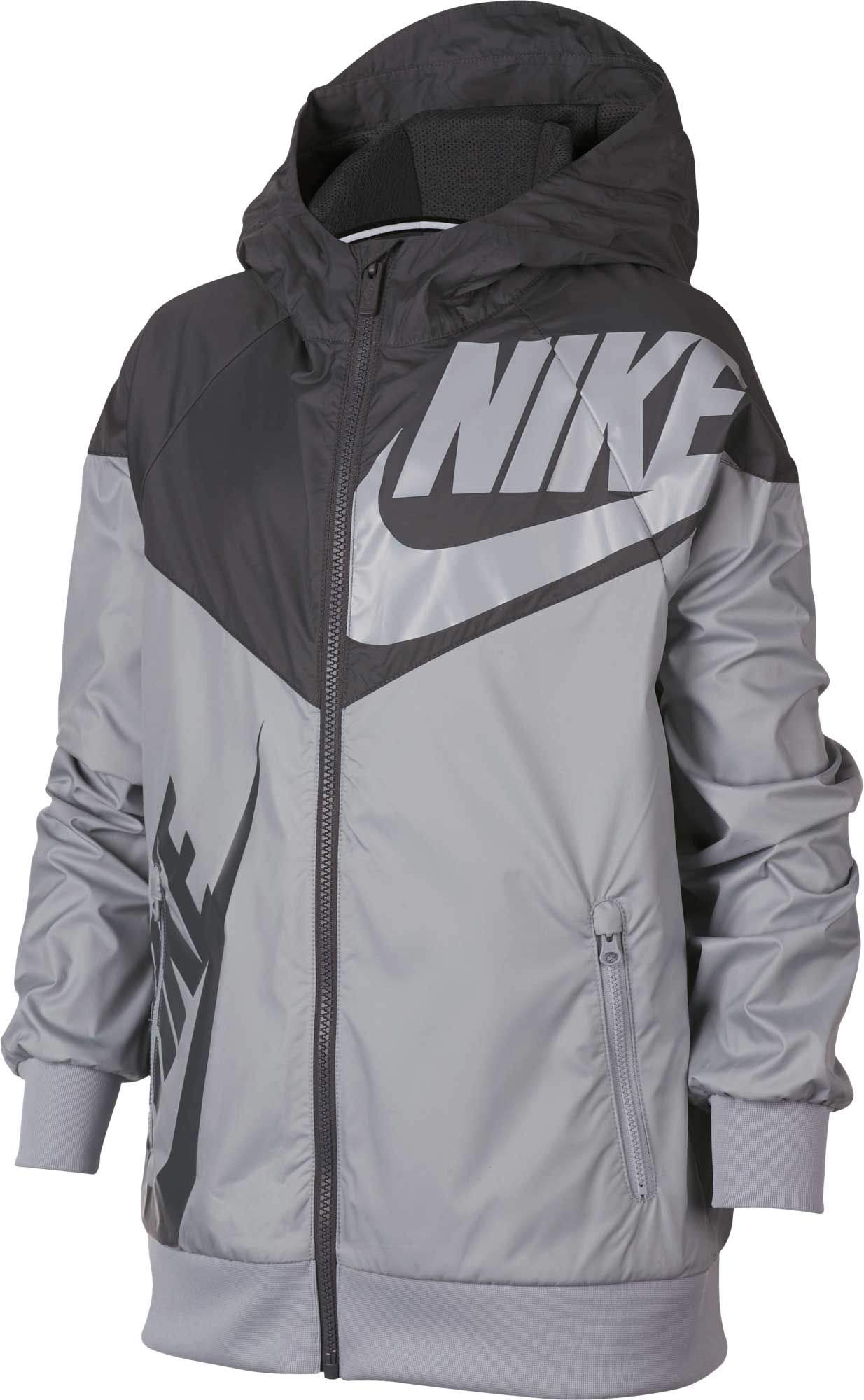 Nike Boy's Sportswear Graphic Windrunner Jacket (Gray, Small)