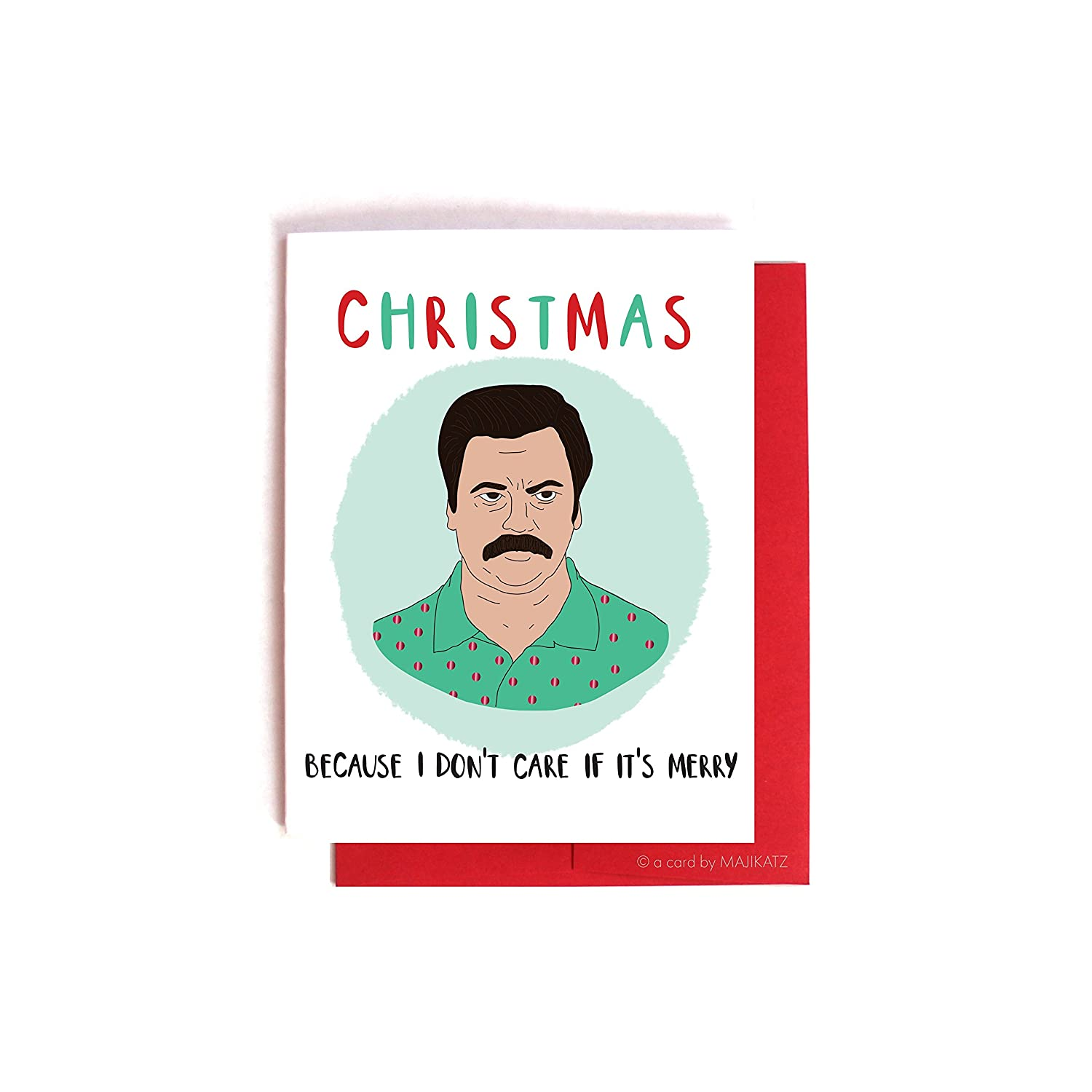 Ron Swanson Doesn't Care Christmas Card -- Parks and Recreation Holiday Card