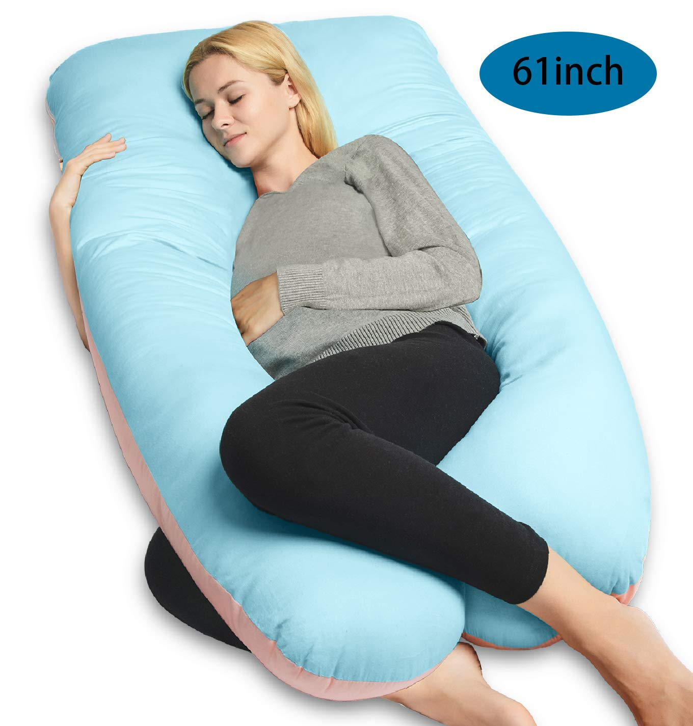 QUEEN ROSE U-Shape Pregnancy Pillow,Full Body Pillow for Back Pain with Cooling Cotton Cover