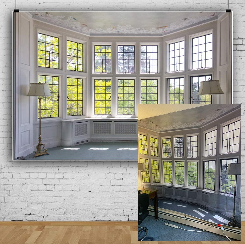 AOFOTO 10x7ft Classic French Pane Bay Windows Backdrop Luxury Retro Interior Decoration Floor Lamps Photography Background New Life Furniture Home Lifestyle Estate Modern Residence Photo Studio Props