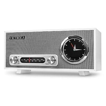 Victrola Broadway Bluetooth Radio reloj de alarma analogo Estéreo - Blanco