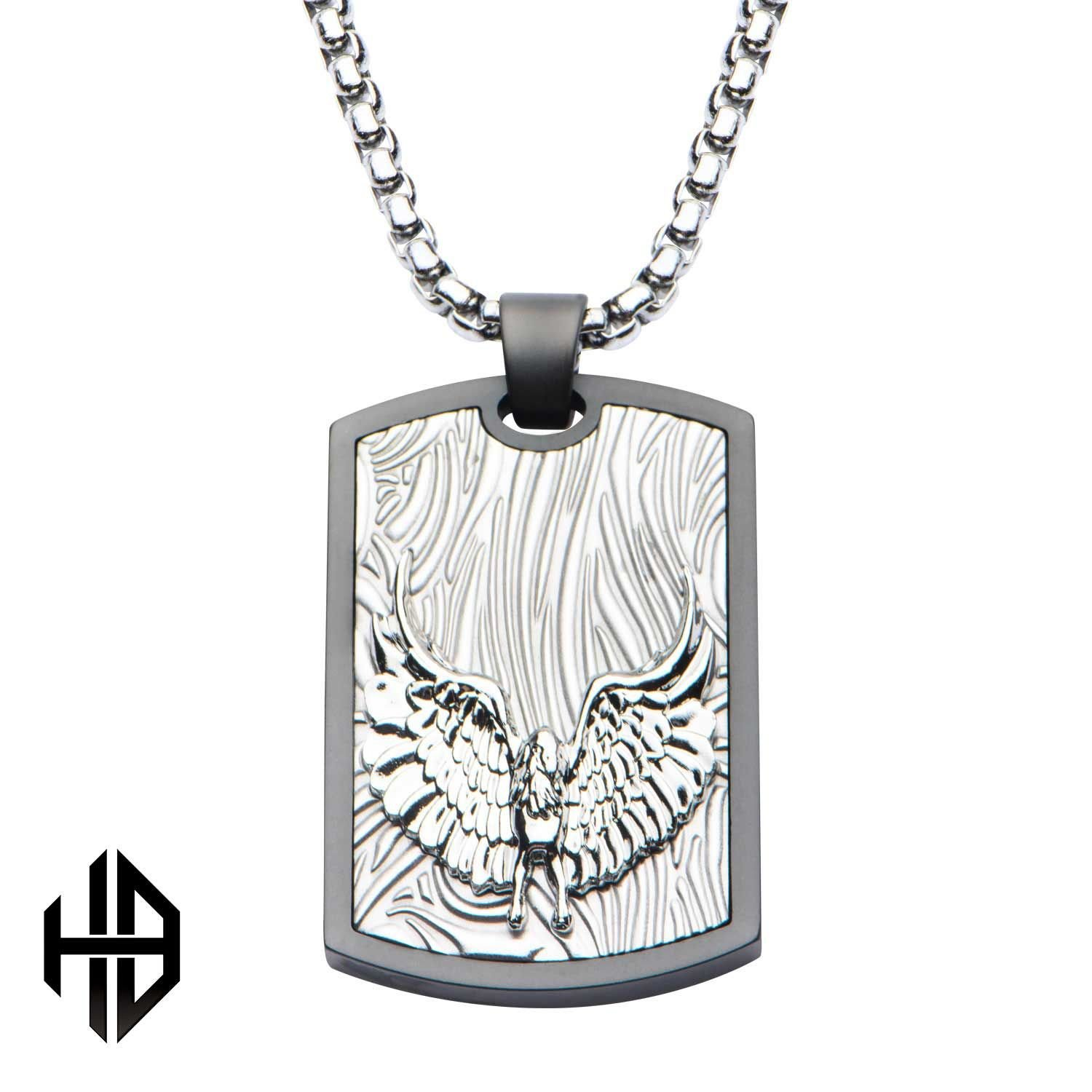 Rare Hills Hollis Bahringer Sandblasted Gun Metal Eagle Dog Tag Pendant with Chain
