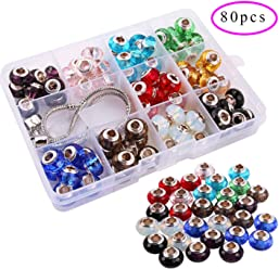 Colle 80pcs Glass European Beads Handmade Beads Murano Lampwork Crystal Charm Spacers Beads 14 x 8mm Large Hole Faceted Rondelle Beads Charms for Bracelet Jewelry Making with 2 Chains 10 Colors