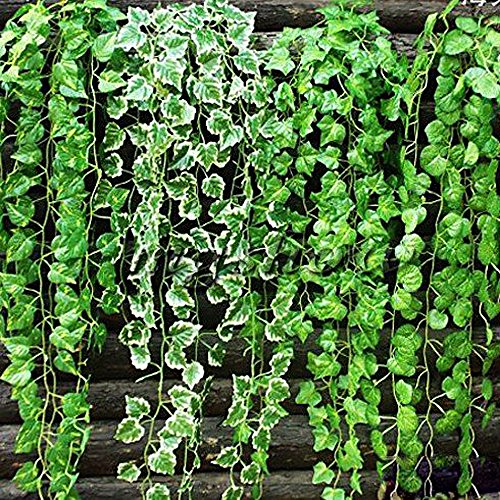 NUOLUX 2M Vine Decorative Indoor Garland Courtyard Artificial Sweet Potato Leave(Green)