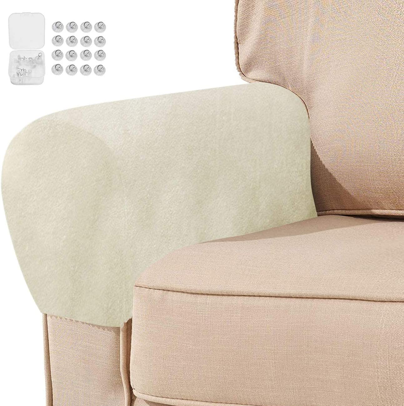 Set of 4 Thick Velvet Stretch Armrest Covers Anti-Slip Arm Covers for Chairs and Sofas Armchair Covers for Arms Couch Arm Covers Armrest Covers for Sofa Non Slip with Free Twist Pins(Ivory)