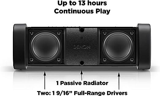 "Denon DSB-250BT Envaya Portable Bluetooth 8.25"" Speaker (Black) - Lightweight, Waterproof & Dustproof | Up to 13 Hours of Battery Life | Hands-Free ..."